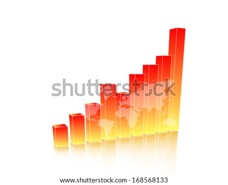 Orange business chart with map - stock photo