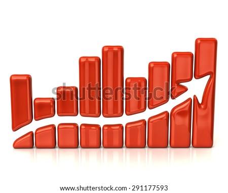 Orange business graph - stock photo