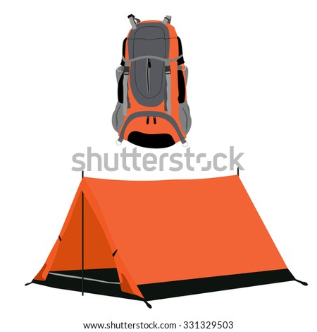 Orange camping tent and travel backpack raster set isolated, travelers stuff, equipment - stock photo