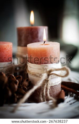 Orange candles with birch decorations - stock photo