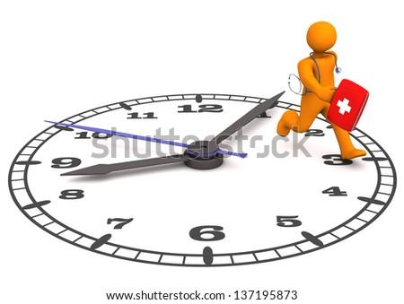 Orange cartoon character as doctor runs on the big clock. - stock photo