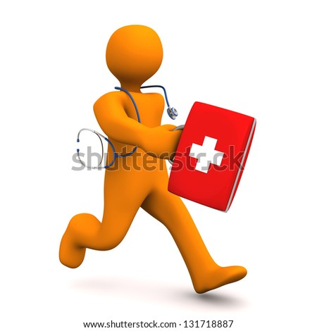 Orange cartoon character as doctor runs with stethoscope and case. - stock photo