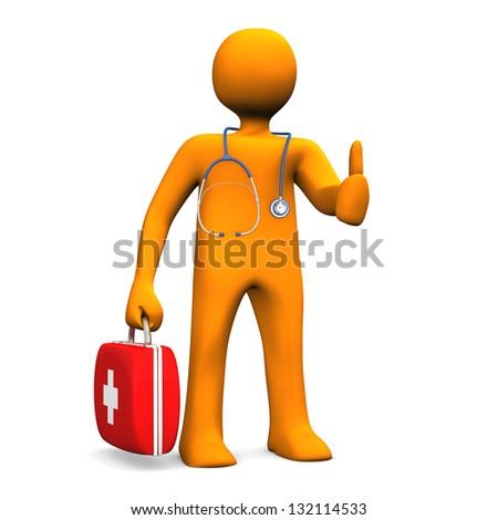 Orange cartoon character as doctor with OK symbol. - stock photo