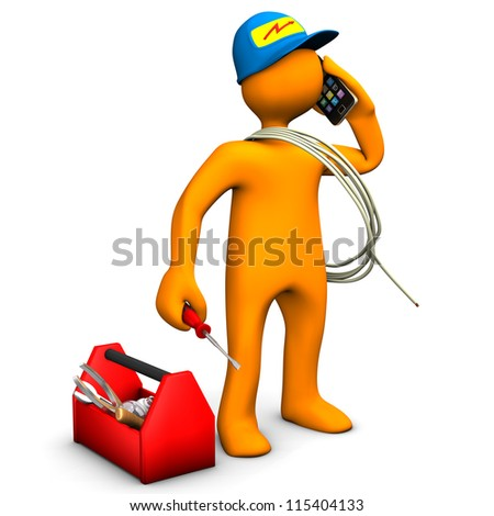 Orange cartoon character as electrician phones with smartphone. White background. - stock photo