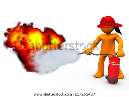 Orange cartoon character blows out the fire with extinguisher. - stock photo