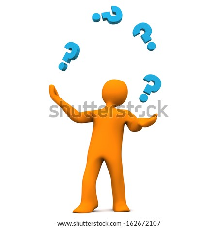 Orange cartoon character juggles with blue question marks. White background. - stock photo