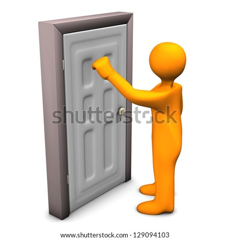 Orange cartoon character knocks on the frontdoor. - stock photo