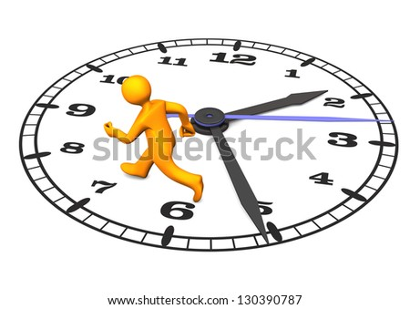 Orange cartoon character on the big clock. 3d illustration with white background. - stock photo