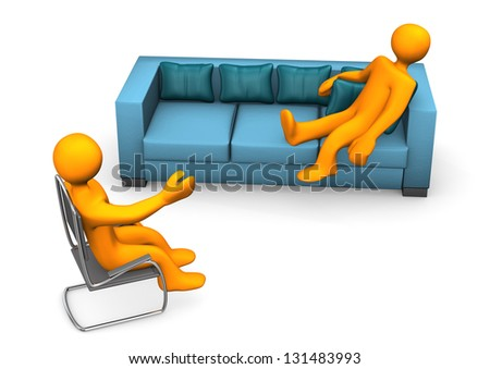 Orange cartoon character on the sofa with psychiatrist on chair. - stock photo