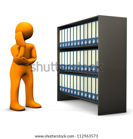 Orange cartoon character searches in a file cabinet and cogitates. White background. - stock photo