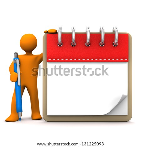 Orange cartoon character with ballpen and notepad. - stock photo