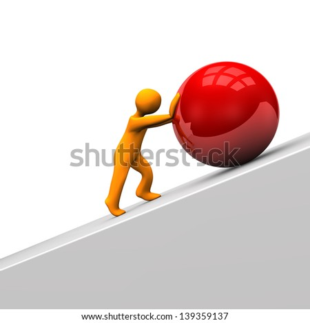 Orange cartoon character with big red sphere. - stock photo