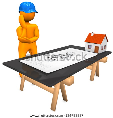 Orange cartoon character with blue helmet and construction plan. White background. - stock photo