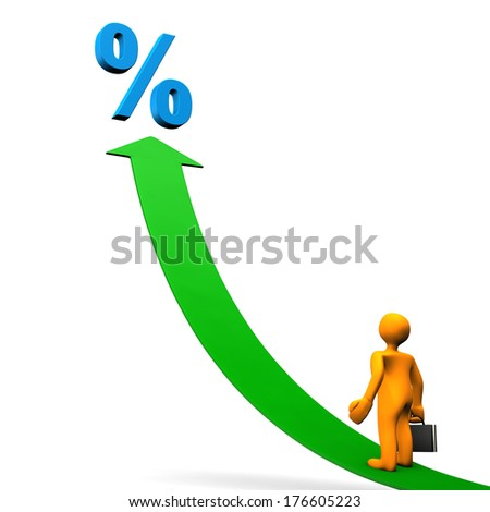 Orange cartoon character with blue symbol of percent and green arrow. - stock photo