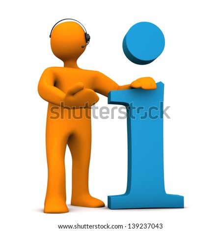 Orange cartoon character with headset and information symbol. - stock photo