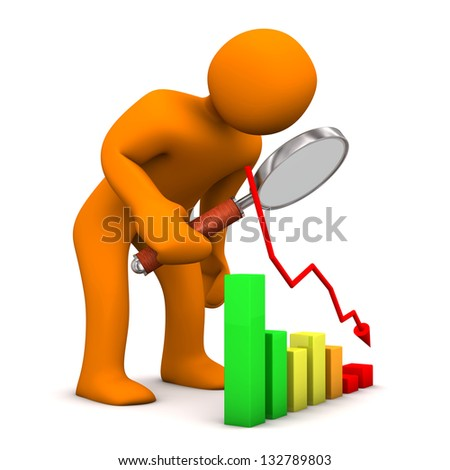 Orange cartoon character with loupe and colorful chart. - stock photo