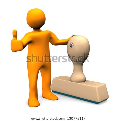 Orange cartoon character with stamp and OK-Symbol. - stock photo