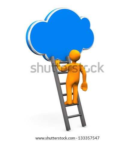 Orange cartoon characterr on ladder with cloud. White background. - stock photo