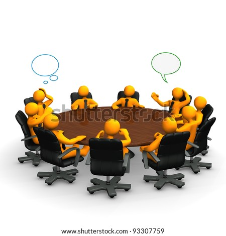 Orange cartoon characters behind a round conference table. - stock photo