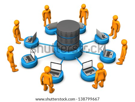 Orange cartoon characters connected with database. White background. - stock photo