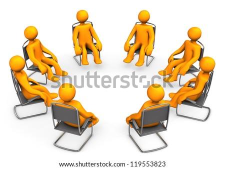 Orange cartoon seats on chairs. White background. - stock photo
