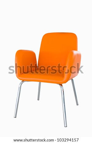 orange chair isolated on white background - stock photo