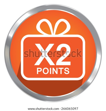 Orange Circle Metallic x2 Points Label, Sticker, Banner, Sign or Icon Isolated on White Background - stock photo