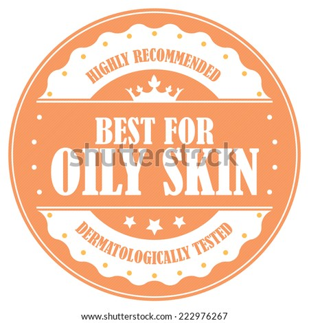 Orange Circle Vintage Best For Oily Skin, Highly Recommended, Dermatologically Tested Icon, Label or Sticker Isolated on White Background  - stock photo