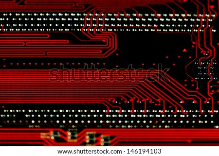 Orange circuit board background, macro shot. shallow depth of field - stock photo