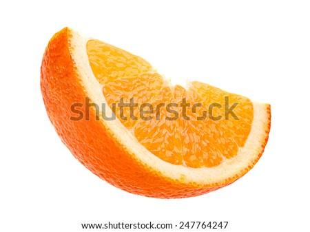 Orange citrus fruit slice isolated on white background - stock photo