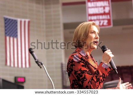 ORANGE CITY, IOWA - OCTOBER 30, 2015: Presidential Candidate, Carly Fiorina, addresses the crowd at a Republican political rally.   - stock photo