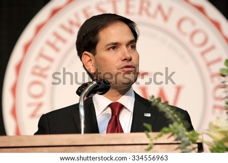 ORANGE CITY, IOWA - OCTOBER 30, 2015: Presidential Candidate, Senator Marco Rubio of Florida, addresses the crowd at a Republican political rally.   - stock photo