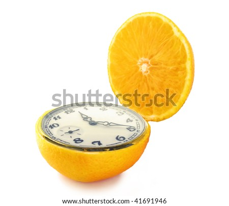 Orange clock - stock photo