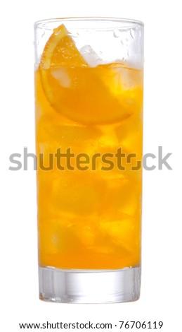 orange cocktail on white background - stock photo