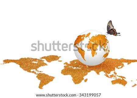 Orange color globe with grass texture on world map pattern isolated on white background with butterfly: Orange the world symbolic concept/ campaign to end violence against women and girls - stock photo