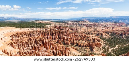 Orange colours in this iconic view of Bryce Canyon National Park, USA - stock photo