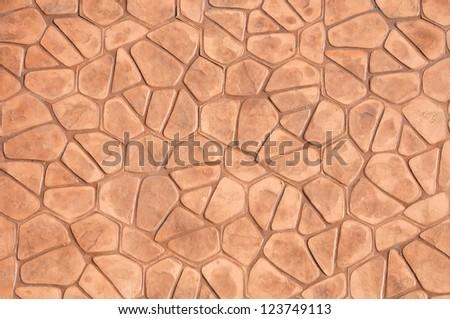 Orange concrete pavement texture on top view. - stock photo