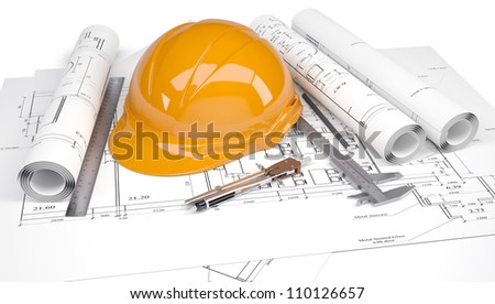 Orange construction helmet on the architectural drawings with engineering tools. Isolated on white background - stock photo
