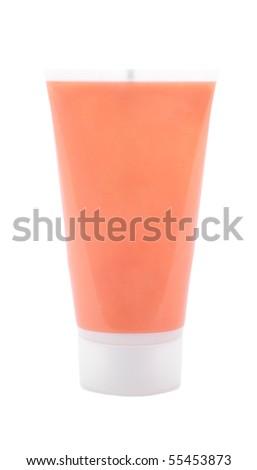 Orange cosmetic cream tube - stock photo