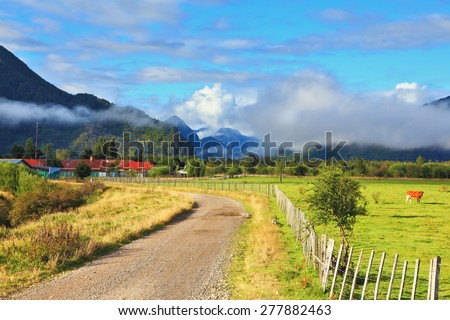 Orange cow grazing on grass field. Low fence fenced field. The road leads to the village houses with red roofs - stock photo