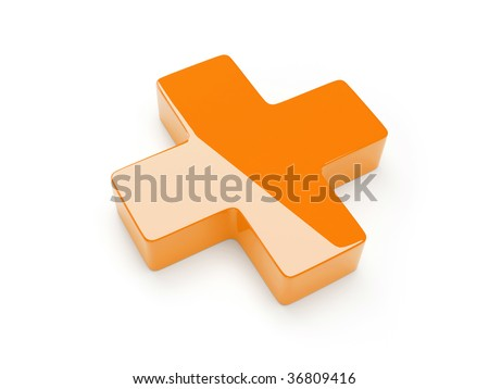Orange Cross Isolated On White Background - stock photo