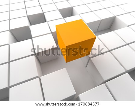 orange cube above a white cubic structure - stock photo