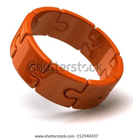 Orange 3d puzzle ring - stock photo