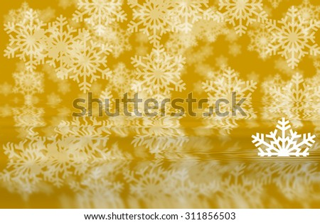 Orange defocused snowflakes background with white half shape of snowflakes in water reflection of background - stock photo