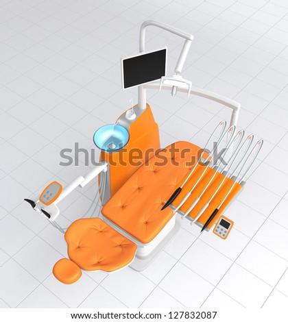 orange dental chair (top view) - stock photo