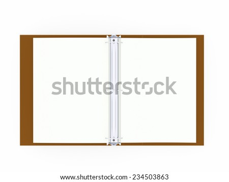 Orange documents folder book rendered on white background - stock photo