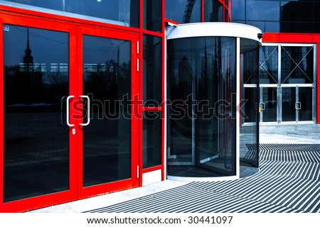 Orange doors in modern office - stock photo