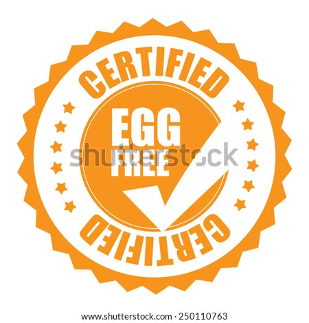 orange egg free certified icon, tag, label, badge, sign, sticker isolated on white  - stock photo