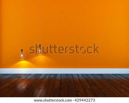 Orange empty interior. 3d illustration - stock photo