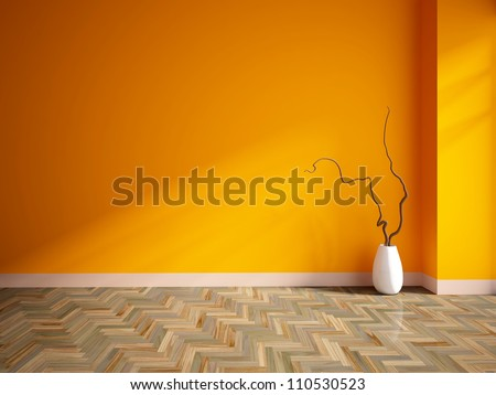 orange empty interior with a white vase - stock photo